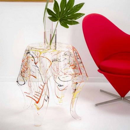 Moderne veelkleurige plexiglas salontafel gemaakt in Italië, Otto