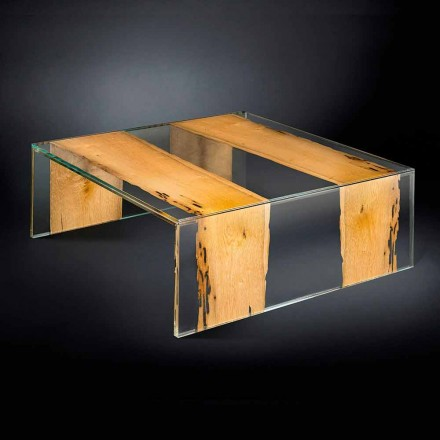 moderne glazen salontafel en houten Venetiaanse Briccola