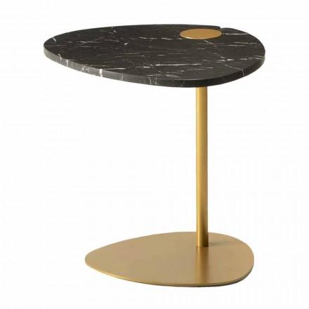Salontafel voor woonkamer in metaal en Marquinia-marmer, luxe design - Yassine
