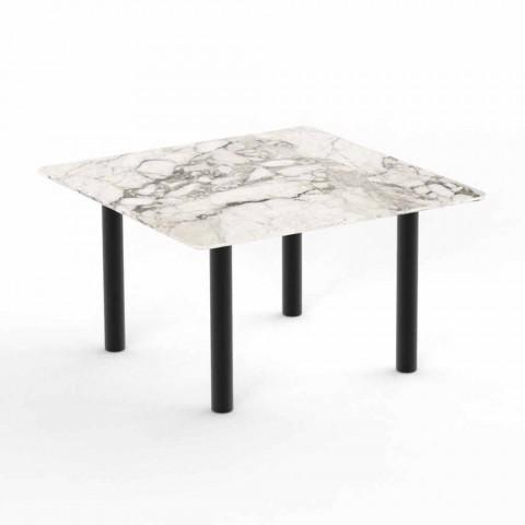 Aluminium en Gres vierkante salontafel voor buiten - Panama van Talenti