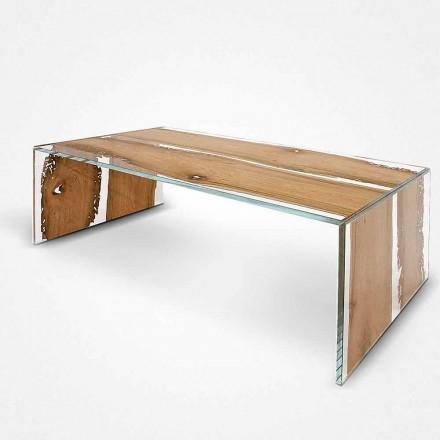 Rechthoekige salontafel gemaakt van glas en hout, dolfijn Venetië Giudecca