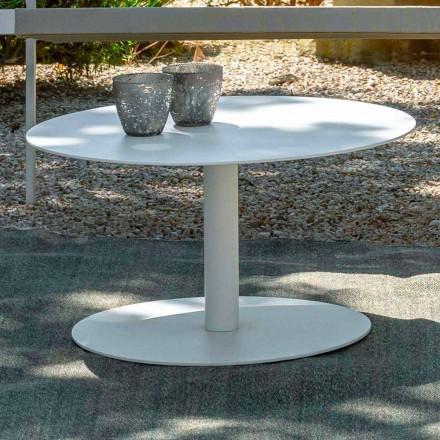Ronde salontafel in wit aluminium of houtskool - sleutel van Talenti