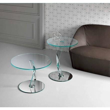 Ronde design salontafel in extra helder glas gemaakt in Italië - Akka