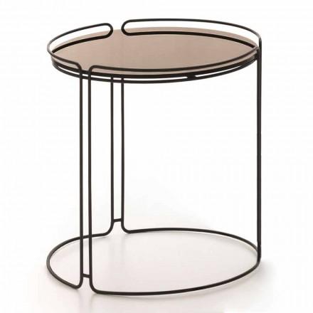 Ronde metalen salontafel met glazen blad Made in Italy - George