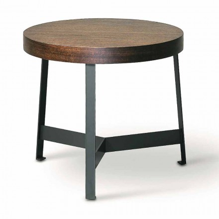 Ronde salontafel in Mdf eucalyptus en metalen afwerking Made in Italy - Juliana