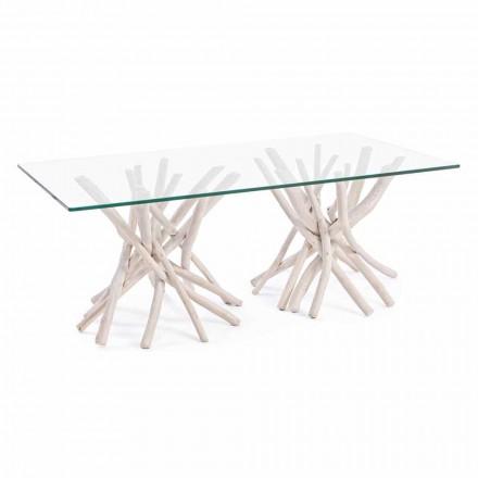 Salontafel met blad van gehard glas en onderstel van Homemotion teak - teak