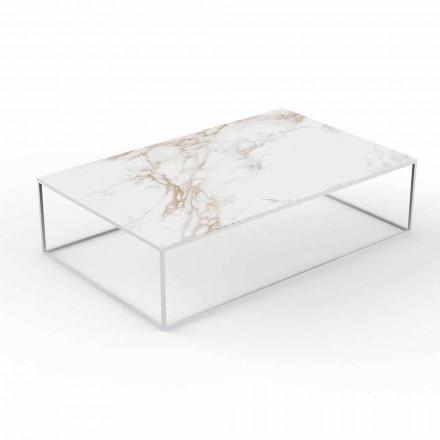 Moderne salontafel voor buiten in aluminium en blad met marmereffect - Suave van Vondom