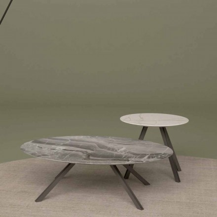 Lounge tafel in Orobico of Calacatta marmer en metaal Made in Italy - Sirena