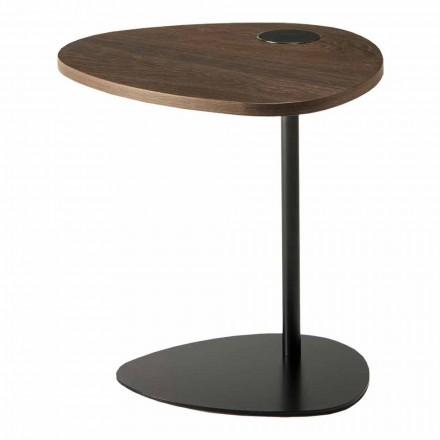 Woonkamer salontafel in metaal en houten blad, luxe design - Yassine