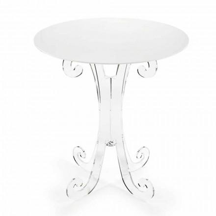 Ronde salontafel in transparant en wit plexiglas of met hout - Stilio