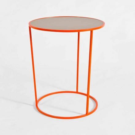 Moderne ronde salontafel van gekleurd metaal gemaakt in Italië - Raphael