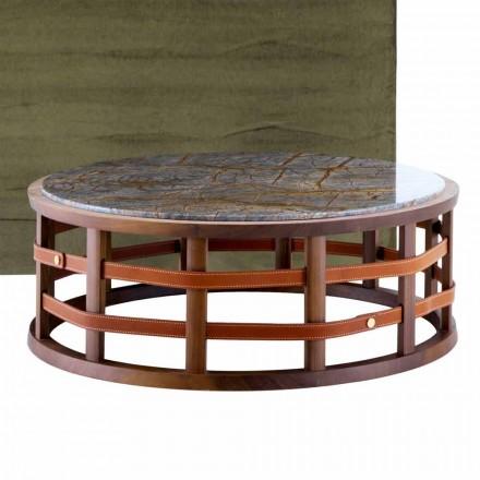 Ronde tafel in massief hout en Grilli Harris-marmer gemaakt in Italië