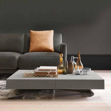 Moderne transformerende salontafel met blad in Malta-effect Made in Italy - Patroclo