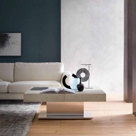 Moderne transformeerbare salontafel, blad met morteleffect gemaakt in Italië - Salomon