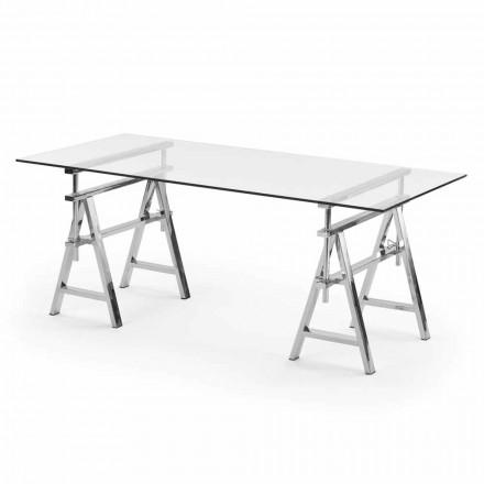 stalen / glazen hoogte verstelbare tafel (L190xH72 / 74 / 78xP90cm) Cristal