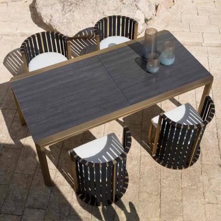 Uitschuifbare tafel 340 cm Buiten dineren in aluminium en glas of laminaat - Julie