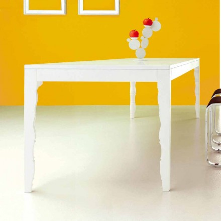 Uitschuifbare tafel in wit gelakt hout tot 2,5 m met gedraaide poten - Concept