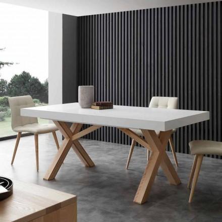 White uitschuifbare tafel met natuurlijke stevige structuur Rico
