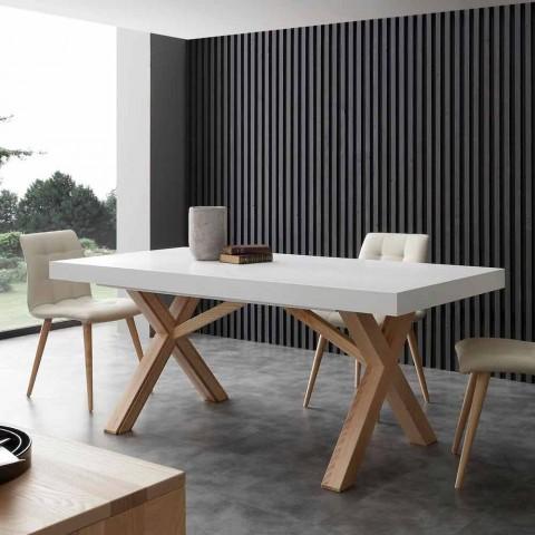 Goede White uitschuifbare tafel met natuurlijke stevige structuur Rico LM-24