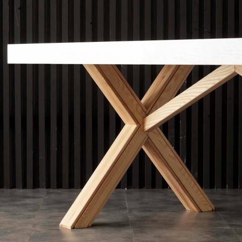 Betere White uitschuifbare tafel met natuurlijke stevige structuur Rico PK-98