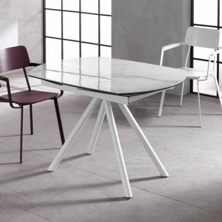 Uitschuifbare tafel met keramische top en metalen poten, Lozzolo