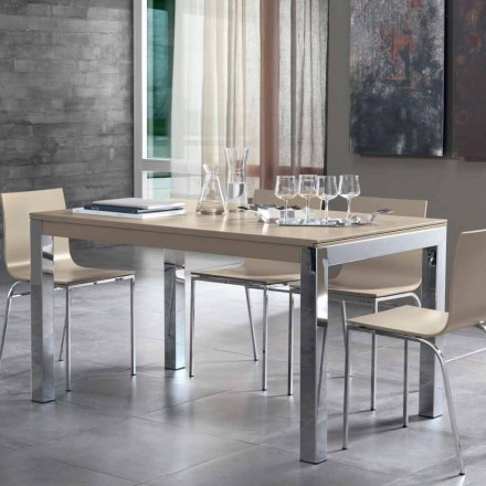 Uitschuifbare tafel met Tanganika walnotenhouten blad en metalen poten - Ketla