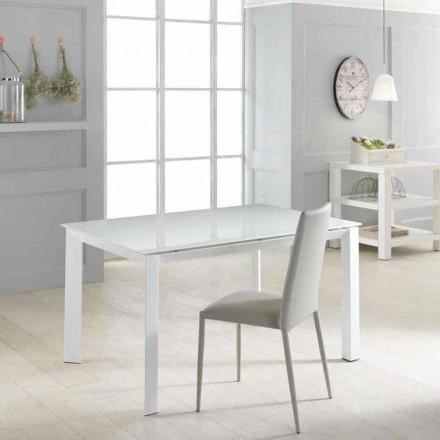 Uitschuifbare tafel met gehard glas top Vinicio