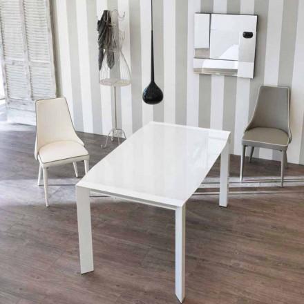 Uitschuiftafel modern design met top vetro Zeno