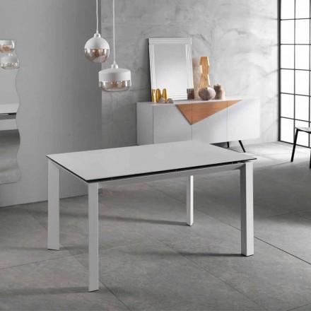 Moderne verlengbare tafel tot 220 cm, witte keramische top, Nosate
