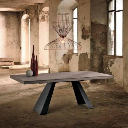 Uitschuifbare designtafel in eikenhout gemaakt in Italië Zerba
