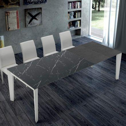 Uitschuifbare keukentafel in marmer en staal Made in Italy - Settanta