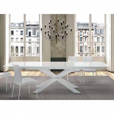 Uitschuifbare tafel tot 300 cm in glas en staal Made in Italy - Grotta