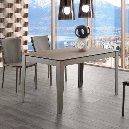 Uitschuifbare Cagliari-tafel van glaskeramiek en metaal tot 380 cm