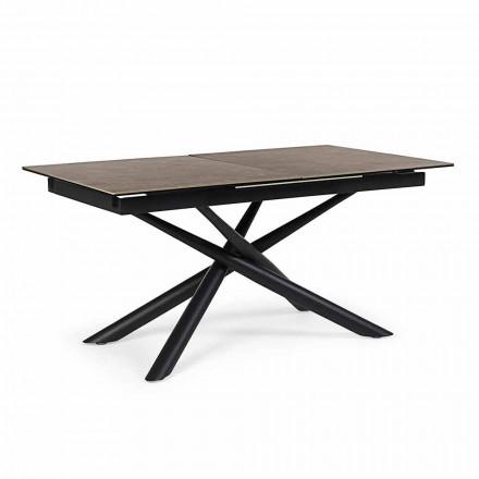 Uitschuifbare tafel tot 220 cm in keramiek en staal Homemotion - Brianza