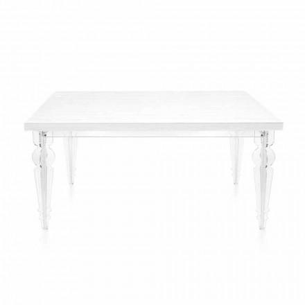 Uitschuifbare tafel tot 255 cm in transparant plexiglas en wit hout - Fabo