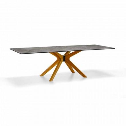 Uitschuifbare tafel tot 260 cm in steengoed en hout, luxe gemaakt in Italië - Malita