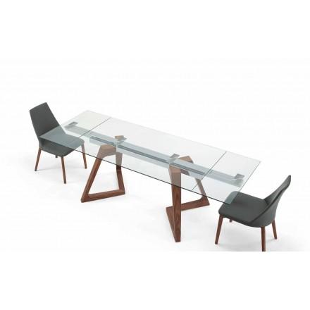 Uitschuifbare tafel van glas en gefineerd hout tot 280 cm - Eugrafo