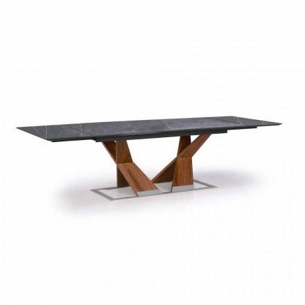 Uitschuifbare tafel tot 294 cm met blad in Gres Made in Italy - Monique