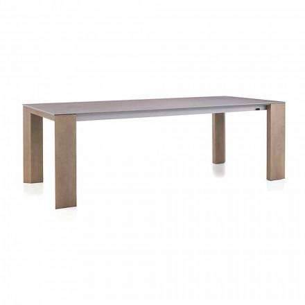 Uitschuifbare tafel tot 300 cm in keramische en houten poten - Ipanemo