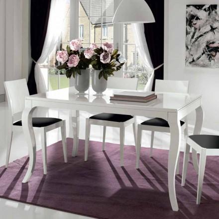 Uitschuifbare tafel tot 350 cm in glanzend wit Tanganika Walnoot - Leomas