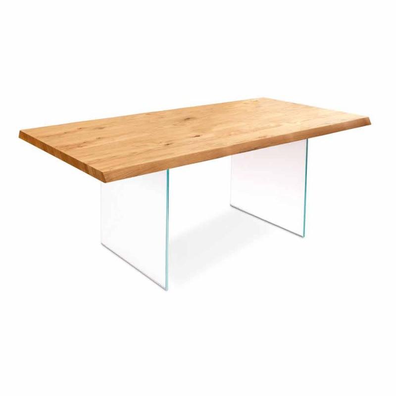 Uitschuifbare tafel in eikenfineer met Nico glazen poten