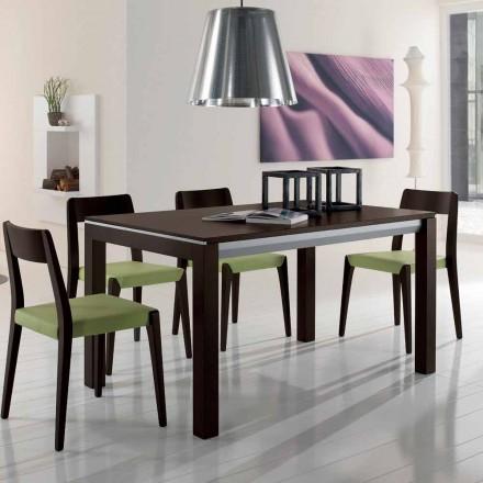 Uitschuifbare tafel in essenhout met grijs gelakte zijbanden - Ketla