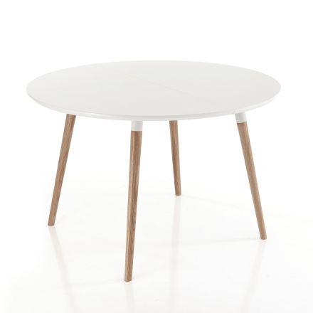 Uitschuifbare tafel in hout, mat wit Ian vloer