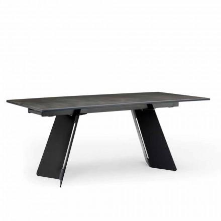Moderne uitschuifbare tafel met steengoed blad gemaakt in Italië, Erve