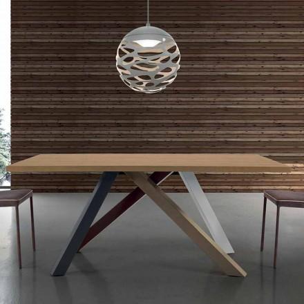 Moderne uitschuifbare tafel met gelamineerd houten blad Gemaakt in Italië - Settimmio