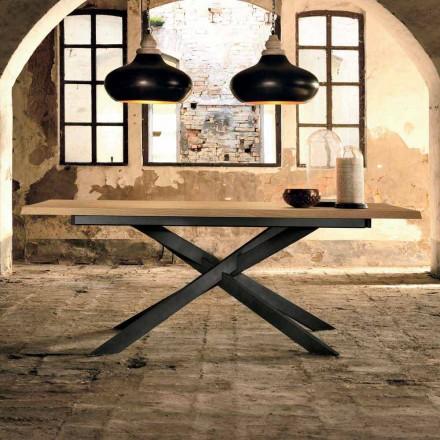 Design uitschuifbare tafel in eikenhout gemaakt in Italië, Oncino