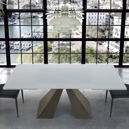 Moderne uitschuifbare tafel in glas en staal 14 zitplaatsen Made in Italy - Dalmata