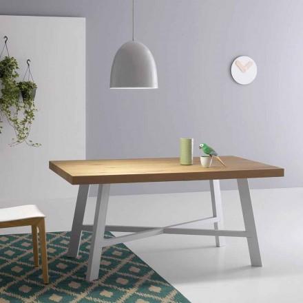 Moderne uitschuifbare tafel, oppervlak in massief hout - Tricerro