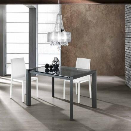Uitschuifbare tafel gehard glas grijs gelakt metaal en Zeno
