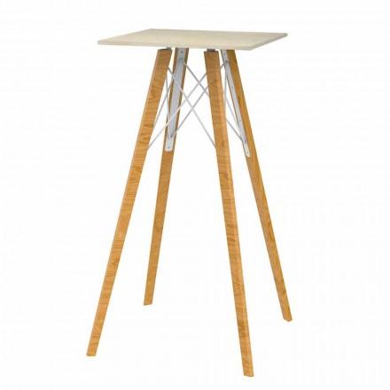 Vierkante hoge bartafel in hout en marmereffect 4 stuks - Faz Wood van Vondom